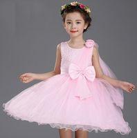 big clothes sale - Hot sales new flower girls dresses children party ceremonies wedding dress princess clothes girl birthday Big Bow baptism