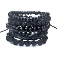 Cheap 1 Set 5 pcs Black Out Bamboo wood, Lava Stone Beads , Stone Skull and Pull-Closure Leather Bracelet Men's Fashion Bracelet Pack
