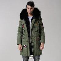 bats hoods - UK style army green coat black inside long jacket real big raccoon fur collar with faux fur lining beading hood men fur parka