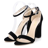 Wholesale Newest Women Pumps Open Toe Sexy Ankle Straps High Heels Shoes Summer Ladies Bridal Suede Thick Heel Pumps