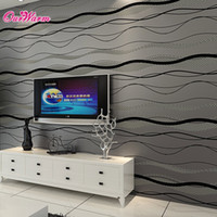 background black - Black D Curve Stripe Wallpaper Embossed TV Background for Bedroom Living Room Non woven Wallpaper Home Decoration