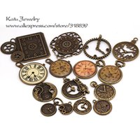 antique brass clocks - Antique Brass Metal Zinc Alloy Mixed Clock Charms Pendant For Jewelry Making Diy Decorative Clock Charms C8498