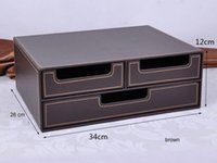 Wholesale double layer drawer leather desk file cabinet filing box container organizer storage box brown B