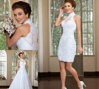 beach wedding ceremony - 2016 Two Piece Wedding Ceremony Dresses in Stylish Short Sheath Lace Bridal Fancy Gowns with Long Detachable A Line Train Skirt Vestidos