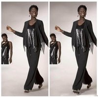 african pants - 2017 Sequined Mother of The Bride Pant Suits Grey Chiffon Long Sleeve Jacket Sequins African Style Women Evening Party Gowns
