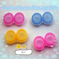 Wholesale US pupil transparent companion box transparent colorful plastic contact lens case double box Contact Lens Storage Set B0037