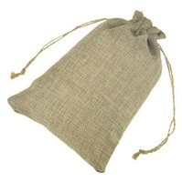 Wholesale Jute Gift Bags Jewelry Drawstring Pouch Rustic Natural Burlap with Hemp Cords for Wedding Party x18cm x20cm