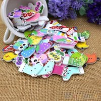 Wholesale 50pcs Lovely Cartoon Animal Wood Buttons Holes DIY Knopf Bouton For Kids Baby MZS