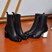 venda por atacado botas curtas-Fashionville * u685 40/41 couro genuíno cadeia de salto alto botas curtas preto branco c moda feminina vogue moda inverno