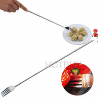 bbq dessert - BBQ DIY Stainless Steel Telescopic Extendable Dinner Fruit Dessert Long Fork Novelty Cutlery