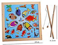 bath game - Kids Wooden Toy Children Magnetic Fishing Rod Model Bath Fun Toy Set Cartoon Baby Puzzle Magnetic Fishing Game Toy