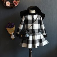 Wholesale New Little Girls Autumn Knit Set Plain Cardigan Grid Checks Coat Skirt Sets pieces Pullover Jumper Great Children Dress Kids Clothes