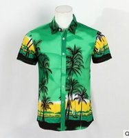 beach polo shirts - Blue Hawaiian Shirt Engineered Palm Coconut Tree Ocean Beach Sunset