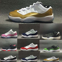Wholesale Hot Sale Retro Low Basketball Metallic White Gold Shoes Cheap S Bred Infare White Red Concord Nightshade Georgetown Shoes US5