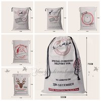 Wholesale Fedex DHL Free style Large Canvas Monogrammable Santa Claus Drawstring Bag With Reindeers Monogramable Christmas Gifts Sack Bags Z73 O