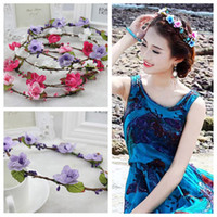 Wholesale Fashion DIY silk cherry flower garland headband wedding party bridal garland hairband proms hair accessories hair jewelry