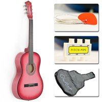 Wholesale New Beginners Acoustic Guitar With Guitar Case Strap Tuner and Pick Pink
