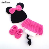 acrylic dress shoes - Free Post Cute Cartoon Mouse Baby Girls Photography Prop Toddler Knit Crochet Baby Costume Newborn Beanie Animal Hat Dress Shoes
