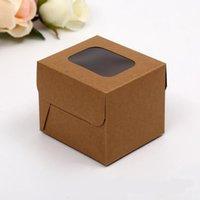 aseptic carton packaging - 100pcs Cube Box Candy Box With Window kraft Paper Food Packaging Rectangular Cake Macaron Cookies Packing Cartons