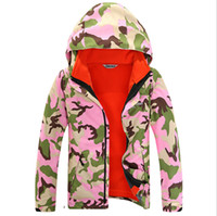 Wholesale Fashion Boys Girls Fleece Ski Jackets Camouflage Hiking Camping Outdoor Wear Two Pieces Waterproof Windproof Ski Suit Hot