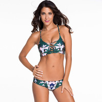 Wholesale Green Floral Print Print Reversible Tankini Two Pieces Swimsuit for Women Slimming Low Waist Bikini for Girls