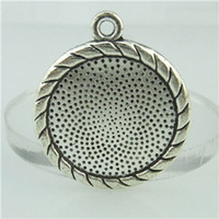 beauty tray - 14729 Alloy Antique Silver Vintage Beauty Round mm Setting Tray Base Pendant