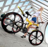 all'ingrosso biciclette pieghevoli-Stock In USA Splendida giallo bicicletta pieghevole 26 pollici di moda, 21 velocità telaio in lega di alluminio bicicletta della montagna, città della moda bicicletta pieghevole