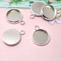 Wholesale Inner mm mm mm mm mm mm Round Pendant Blank Silver Tone Charm Setting DiY Bezel Pendant Tray Base Necklace
