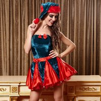 Wholesale Miss Santa Sexy Wear Cosplay Slim Short Dress Sexy Christmas Santa Suits Role Play Club Wear Stage Costumes