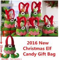 Wholesale 2016New Christmas Decorations Very Cute Cartoon Elf Pocket Best Christmas Candy Gift Bag Festival Kids Friend Lovers Gift Elves Sock cm