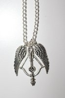 antique crossbow - 12pcs Antique silver quot The Walking Dead quot Themed Crossbow Angel wings charm pendant necklace