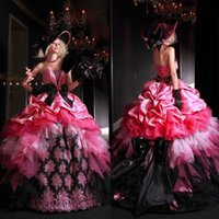 Wholesale Pink Vintage victorian gothic wedding dresses plus size Cascading Ruffles Strapless Organza Colorful elie saab Bride Gowns QW725