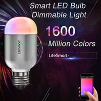 Wholesale Lifesmart Home Automation Smart Led Million Colors Dimming Lamp Smart LED Bulb Dimmable Light Wireless Remote Control Lamp