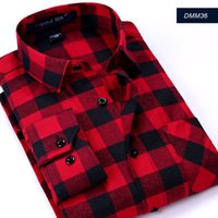 Wholesale Men Plaids Flannel Shirt Fashion Classic Shirts Casual Long Sleeve Button Down T shirt Plus Size S XL