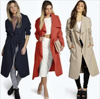 Wholesale HOT Fashion Fall Large Size Long woolen Coat Women s Coats Outwear Women Chiffon Long Trench Coat Slim Jacket Outwear