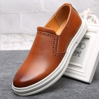 basic rubber - Business Men s Basic Flats Shoes Genuine Leather Gentle Wedding Dress Shoes Formal Wearing Shoes British Men Casual