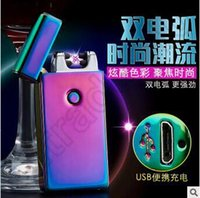 arc stock - 100pcs CCA4132 High Quality USB Charging Lighter Windproof Slim Double Arc Pulsed Arc Creative Personality Electronic Cigarette Lighter