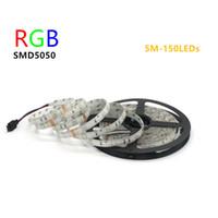 achat en gros de ip65 de qualité-Haute qualité RVB Led Strip 5050 5M 150LEDs DC12V 30LED / M flexible Tiras léger imperméable à l'eau IP65 Ribbon Lamps RGB blanc blanc chaud