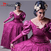 arab ladies dress - Best Selling Purple Puffy Long Sleeve Design V Neck Evening Dresses Formal Ball Gown Arab Saudi Lady Fashion Party Gowns