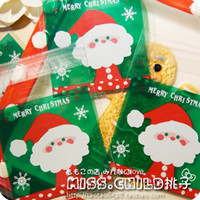 adhesive wrapping paper - Green Christmas Santa Claus Print OPP Gift Packing Bags Self Adhesive Candy and Cookie Plastic Packing Bag H1206