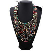 Wholesale Elegant Jewelry Multicolor Resin Seed Beads Chain Ribbon Collar Bib Pendant Necklace