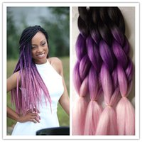 bulk - New Lilac Pink Tone Ombre Braiding Hair Bulk Extensions Synthetic Jumbo Afrian Box Braiding Style Crochet Senegalese Twist Braid