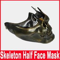 adult human skull - Skull mask Jaw Horror Half Face Shied Terror Masks Plastic Human Skull Skeleton Mask for Halloween Outdoor Party