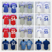 Wholesale Hot Sale Toronto Blue Jays men Aaron Sanchez Roberto Osuna Russell Martin Blank jersey white blue gray red top quality