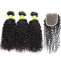 Wholesale Cheap peruvian hair peruvian Kinky Curly Hair With Closure remy human hair With Closure Swiss Lace