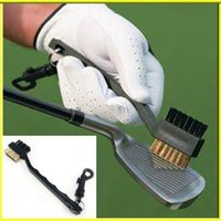 Wholesale Dual Bristles Golf Club Brush Cleaner Ball Way Cleaning Clip Plastic Groove Free DHL