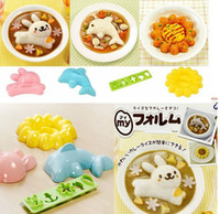 Wholesale 100sets Rabbit Dolphins Sunflower Cartoon pieces DIY Rice And Sushi Mold Set For Kids Children