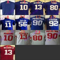 football jersey blank - Youth NIK Game Football Stitched Giants Blank Manning Simms Beckham Jr Taylor Red White Blue Jerseys Mix Order