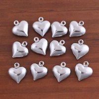 Wholesale x13mm Silver Plated Small Heart Charms Pendant Fit DIY Fashion Jewelry Making Accessories