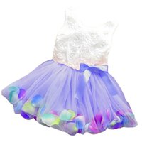 baby blue roses - Summer baby girls dress girl flower rose petal hem dress candy colorl cute dress vestidos infantis year drop shipping